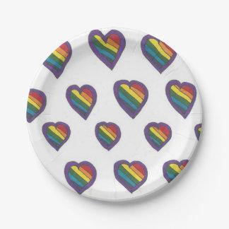 Love is Love Heart pattern Paper Plate