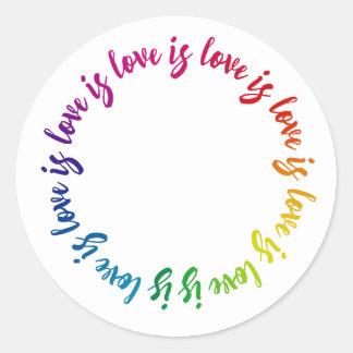 Love is love is love is love rainbow circle classic round sticker