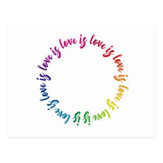 Love is love is love is love rainbow circle postcard