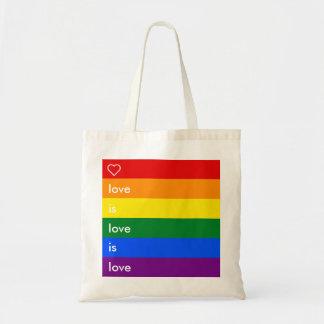 Love Is Love Is Love LGBT Gay Pride Rainbow Flag Budget Tote Bag