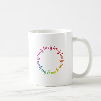 Love is love is love rainbow circle coffee mug