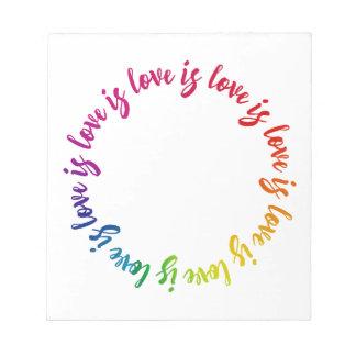 Love is love is love rainbow circle notepad