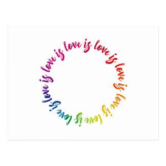 Love is love is love rainbow circle postcard