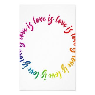 Love is love is love rainbow circle stationery