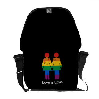 LOVE IS LOVE LESBIAN COUPLE -.png Commuter Bags