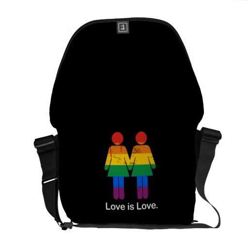 LOVE IS LOVE LESBIAN COUPLE -.png Commuter Bag