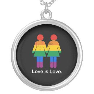 LOVE IS LOVE LESBIAN COUPLE -.png Pendant