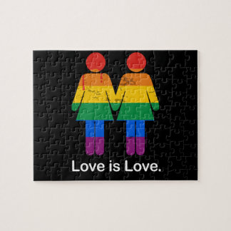 LOVE IS LOVE LESBIAN COUPLE -.png Jigsaw Puzzles