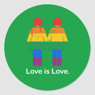 LOVE IS LOVE LESBIAN COUPLE -.png Round Stickers