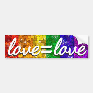 Love is Love LGBT Gay Pride Glitter Rainbow Flag Bumper Sticker