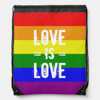 Love is Love - Love Equality Rainbow Flag Drawstring Bag