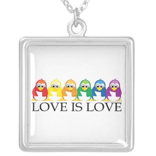 Love Is Love: Penguins Silver Plated Necklace