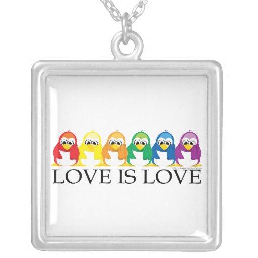 Love Is Love: Penguins Square Pendant Necklace