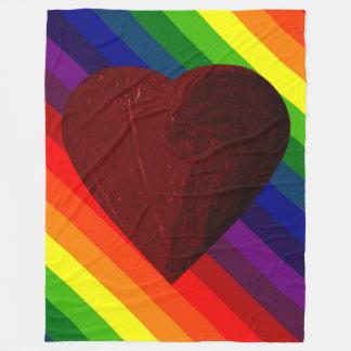 LOVE IS LOVE RAINBOW HEART ~~ FLEECE BLANKET