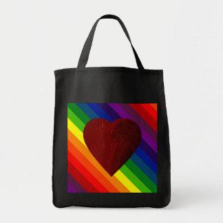 LOVE IS LOVE RAINBOW HEART! GROCERY TOTE BAG