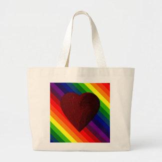 LOVE IS LOVE RAINBOW HEART ~~ JUMBO TOTE BAG