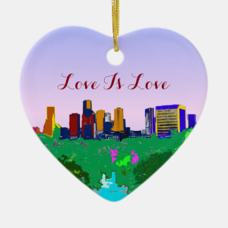 Love Is Love Rainbow Houston Skyline Gay Pride Christmas Ornament