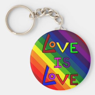 LOVE IS LOVE RAINBOW TILE ~ BASIC ROUND BUTTON KEY RING
