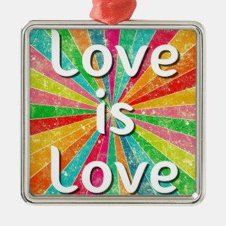 Love is Love Silver-Colored Square Decoration