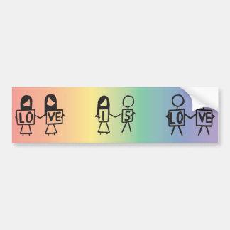 """Love is Love"" Stick Figure Bumper Sticker"