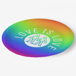 Love is Love Typography Gay Pride LGBT Rainbow 9 Inch Paper Plate