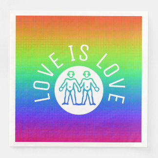 Love is Love Typography Gay Pride LGBT Rainbow Paper Serviettes