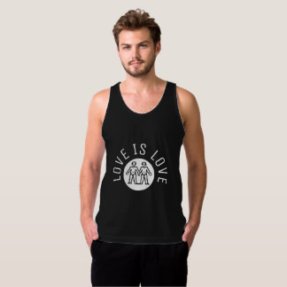 Love is Love Typography Gay Twins LGBT Black White Tank Top