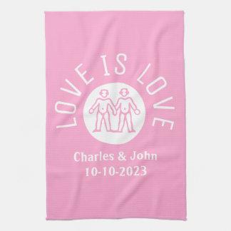Love is Love Typography Logo Gay Pride LGBT Pink Tea Towel