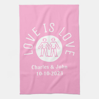 Love is Love Typography Logo Gay Pride LGBT Pink Towels