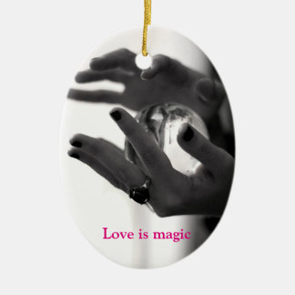 Love is magic christmas ornament