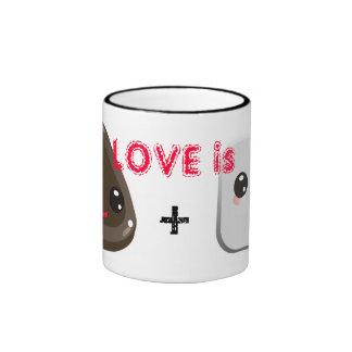 Love is Mug w cute marshmallow and chocolate kiss