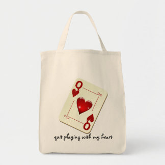Love is Not a Card Game Quit Playing with My Heart Canvas Bags