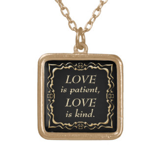 Love is Patient and Kind Gold Christian Square Pendant Necklace