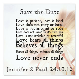 Love is Patient Autumn Daisy Save the Date Card 13 Cm X 13 Cm Square Invitation Card