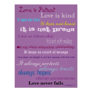 Love is Patient Bible Verse Poster