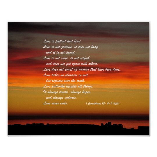 Love Is Patient Bible Verse Wall Poster