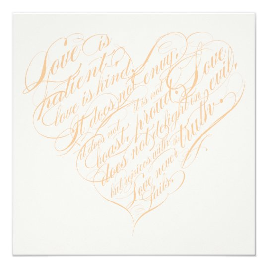 Love is patient.. blush & gold calligraphy heart