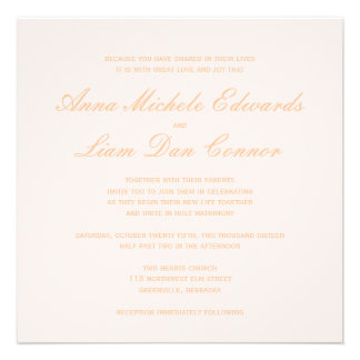 Love is patient blush gold calligraphy heart custom announcements