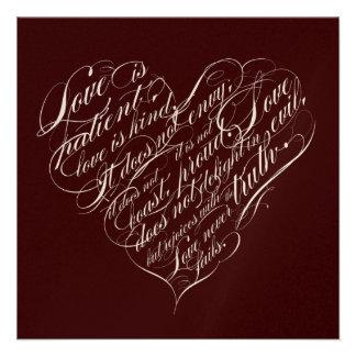 Love is patient.. chocolate champagne script heart personalized invite