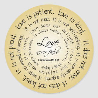 Love is Patient, Circular Text Wedding Sticker