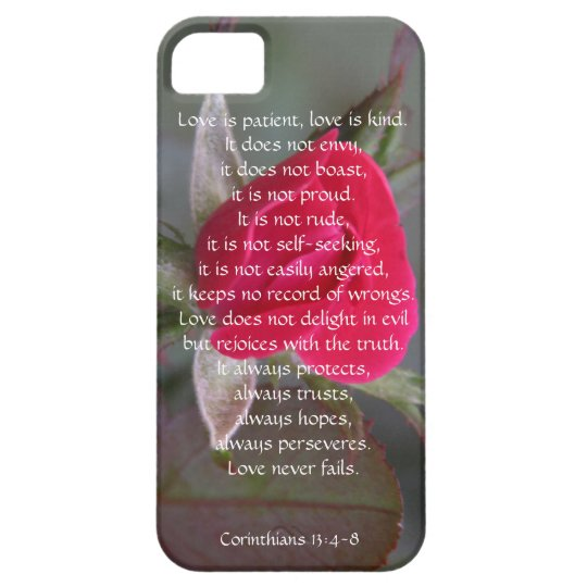 Love is Patient, Corinthians, Red Rose Bud iPhone 5 Covers
