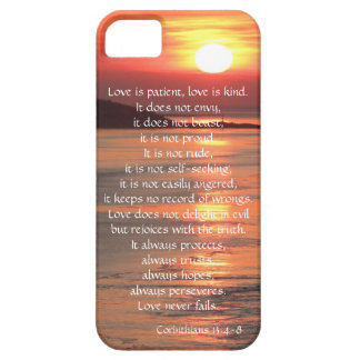 Love is Patient Corinthians verse, ocean sunrise iPhone 5 Case