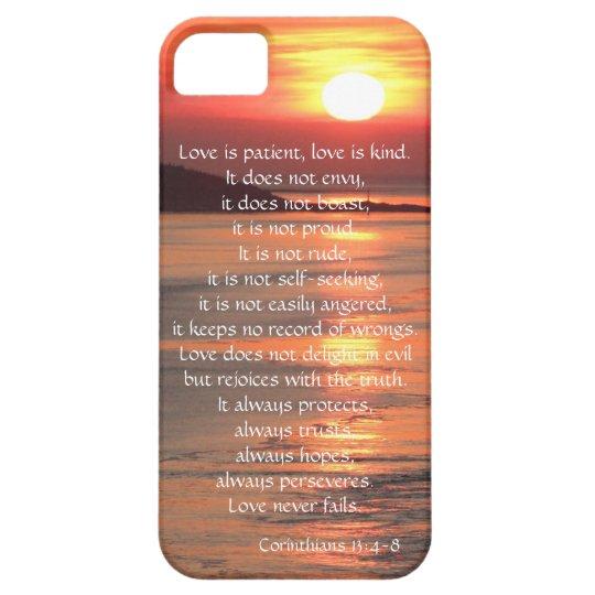Love is Patient Corinthians verse, ocean sunrise iPhone
