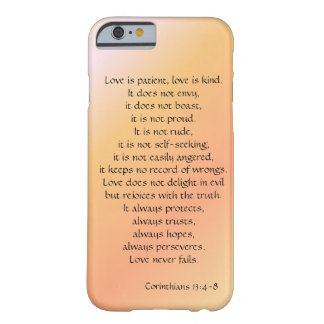 Love is Patient, Corinthians verse, peach iPhone Barely There iPhone 6 Case