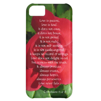 Love is Patient Corinthians verse Red Rose Cover For iPhone 5C