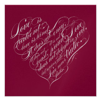 Love is patient.. crimson silver calligraphy heart personalised announcement