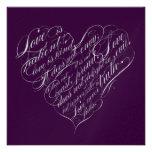 Love is patient.. eggplant & silver script heart custom invites
