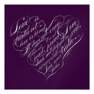 Love is patient.. eggplant & silver script heart custom invites