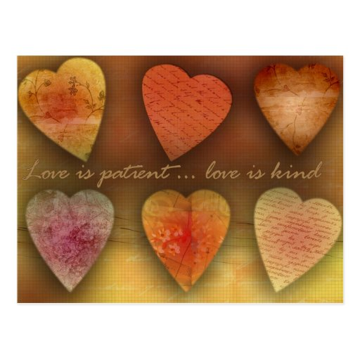 Love is patient; love is kind post card