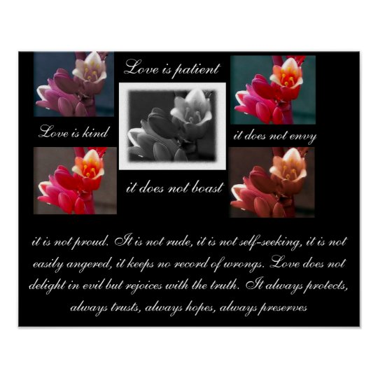 Love is patient love is kind with flowers print